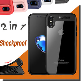 Wholesale Protection Materials - 2 in 1 Case Anti-Fall Protection Shockproof Armor Hard TPU PC Soft Material Transparent Ultra Thin Slim Cover For iPhone X 8 7 Plus 7 6 6S