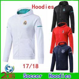 Wholesale New Style Hoodies Men - New Style 2017 2018 Real Madrid Adult Soccer Hoodies 17 18 Ajax Football Tops Coat Man Milan Sportswear futbol Hot Sell