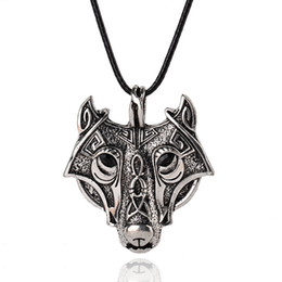 Wholesale Vintage Wolves - New Norse Vikings Pendant Necklaces Vintage Silver Wolf Head Men Necklaces Original Animal Jewelry free shipping