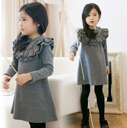 Wholesale Korean Winter Style Clothing - Girl's Dresses Baby Kids Winter New Clothes Warm Thicken One-piece Big Girl Korean Style Falbala Solid Color Dress Top Grade Kids Tops 9529