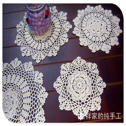 Wholesale crochet napkins - Wholesale- free shipping 20-38cm 12 pic lot cotton crochet lace doilies for home decor felt for wedding cup pads placemat napkin mat felt