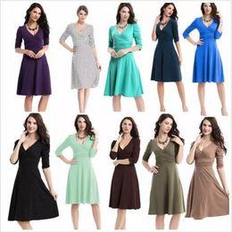 Wholesale Work Clothes Wholesale - Dresses OL Work Dress Business Cocktail Dresses Women Casual Plus Size Dress High Waist Vintage Dress Fashion V Neck Dresses Clothing B2532