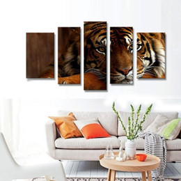 Wholesale Tiger Canvas Wall Art - 5 Picture Combination Wall Art Tiger Sitting Under Painting Pictures Print On Canvas Animal For Home Modern Decoration piece