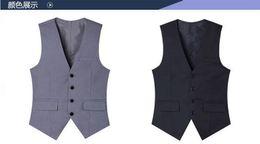 Gilet da uomo all'ingrosso-grigio chiaro 4 bottoni Gilet da sposa da uomo scollo a V in cotone nero stile britannico gilet costume 2016 nuovo arrivo XXXL da