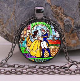 Wholesale Photo Pendant Sterling - Beauty and the Beast necklace, Flowers Rose jewelry Cothic Glass Photo Cabochon Necklace pendant Jewellery Gifts