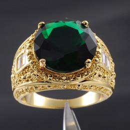 Deutschland Größe 9/10/11/12/13 Schmuck Deluxe Herren Smaragd 18K Gelbgold gefüllt riesige Gem Ring cheap 18k yellow gold emerald ring Versorgung