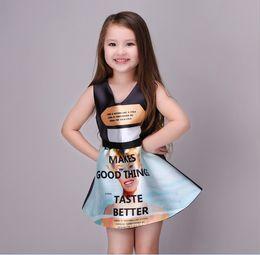 Wholesale Princess Things - Summer Girls Sleeveless Dresses Letter Print Make Good Things Princess Dresses Kids Girl Party Dress 7pcs Lot K7339