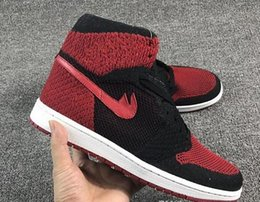 Wholesale Woven Silver Box - Air Woven Retro 1 Bred Mens Basketball Shoes Black Varsity Red White Sneaker In box