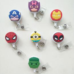Wholesale belt clip badge holder - New 7 pcs Cartoon Mini Iron Man Badge Holder Retractable ID Badge Reel with Belt Clip for ID Card Badge Holder Tag Office Stationery