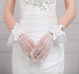 Wholesale Short Red Lace Wedding Gloves - On Sale! 2016 Fashion Bridal Gloves Sunscreen Soft Yarn Lace Bow Flower Sweet Short Gloves Bride Married Wedding Accessories