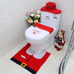 Wholesale cartoon seat covers - Santa Claus Snowman Elk Toilet Seat Cover And Rug Bathroom Set Contour Rug Christmas Decorations For Home