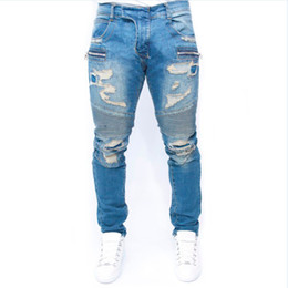 Wholesale Kanye West Jeans - Wholesale-mens Strech ripped biker jeans skinny light blue Distressed kanye west designer distrressed brand hip hop streetwear swag pants