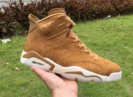 Wholesale Wheat Free - (With box)Authentic Air Retro 6 Golden Harvest Basketball Shoes All Wheat Suede Sneakers for men free shipping Running shoes size 7-13