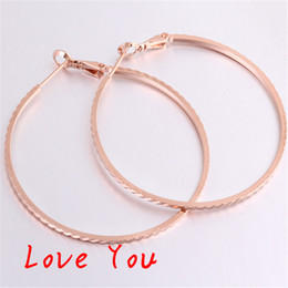 Wholesale Rose Gold Earrings Hoops - Rose Gold Plated Hoop Earrings Women Fashion Jewelry Vintage Statement Party Earrings boucle d'oreille