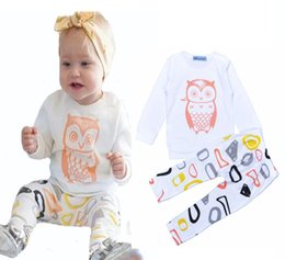 Wholesale Owl T Shirt Kids - Retail Bobo Choses Baby Girls Clothes Set 2016 Brand Owl Long-sleeve T-Shirt+ Graffiti Pants 2pcs Sets Cartoon Owl Kids Boy Clothing Set