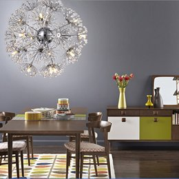 Wholesale European Led Crystal Chandeliers - Dandelion LED Chandeliers European Creative K9 Crystal Dandelion Flowers Ball Pendant Lamp Living Room Light Dia 47cm