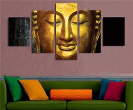 Wholesale Buddha Paintings Framed - Modular Wall Painting Buddha 4pcs Canvas Prints Poster No Frame Oil Painting Home Art Decor Picture Gold Buddhist Temple Picture