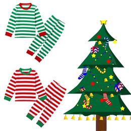 Wholesale Christmas Sleepwear For Boys - 2016 New Christmas Kids Pajamas Cotton Deer Stripe Tops +Pants Clothing Sets Sleepwear For Girls Boys Clothes