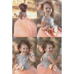 Wholesale Yellow Princess Dresses For Sale - 2016 New Arrival Hot Sale Lovely Princess Ball Gown Orange Tulle Lace Sequined Flower Girl's Dresses For Wedding Party