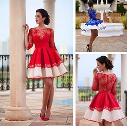 Wholesale Special Ocassion - 2016 homecoming dressed jewel neck cocktail dresses half sleeves lace short special ocassion dresses zipper back a line dresses for women