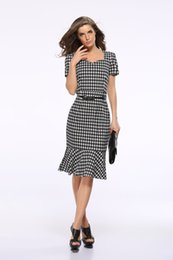 Wholesale Houndstooth Party Dress - Elegant Houndstooth Mermaid Party Eveningwear Dresses For Women Fashion Plus Size Short Sleeve Slim Sexy Club Dress With Belt