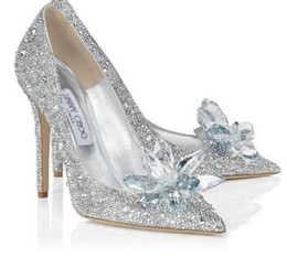 Wholesale Sliver High Heels - 2016 Gorgeous Crystal Christmas Party Shoes Sliver Sequins Pointed Toe Women's Pumps Rhinestone Wedding Shoes Bridal Accessories