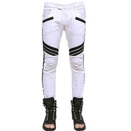 мужские кросс-джинсы Скидка Оптовая продажа-бесплатная доставка мужская Мото крест складками группа джинсовые байкер мыть белые джинсы W30-36 брюки горячие продажи большая скидка
