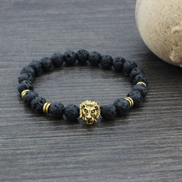 Wholesale Indian Black Stone - Brand New Natural Stone Beads Bracelets Lava Lion Head Yoga Beaded 1 Pc Free Shipping[GE02094]