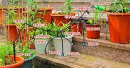 Wholesale Outdoor Cooling Misting System - 200M 4 7mm hose 20pcs red mist sprinkler Outdoor Garden Misting Cooling System Mist Nozzle Sprinkler water kits system