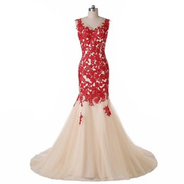 Wholesale Exquisite Trumpet Flower - Real Photo 2016 Exquisite New Sweep Train vestidos de festam Sleeveless Backless V-Neck Red Lace Champagne Tulle Mermaid Evening Dress