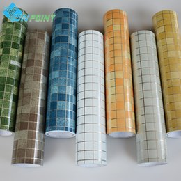 Wholesale pink wall tiles - Wholesale- 45x300cm roll Kitchen Wall Anti Oil Stickers Mosaic Self-adhesive wallpaper for bathroom tile window wall peel&stick waterproof