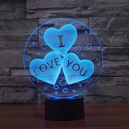 Wholesale I Usb Lead - Free Shipping Color Changing USB charge 3D HEART I LOVE YOU Acrylic LED night light with 3D luminous table lamp Valentine's day gift
