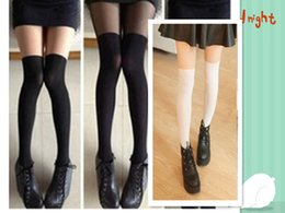 Wholesale Collant Tights - New Tights Women Patchwork High Socks Five Colors Long Socks Crotchless Tights Collant Femme 10 Pieces Socks Women