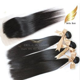 Wholesale Brazilian Lace Full Head Closure - Full Head Hair Weaves With Closures 4PCS Brazilian Hair Wefts Extensions 3PC+1PC Lace Closure Remy Virgin Human Hair Straight 7A Bellahair