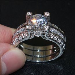 Wholesale Ladies Gold Diamond Ring - Women's Fashion 10KT White Gold Filled Topaz Simulated Diamond CZ Jewelry Sets Lady Engagement Wedding Anniversary Bride Rings Finger
