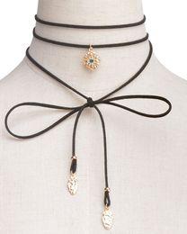 Wholesale long leaf pendant necklace - Boho Long Leather Velvet Choker Women Jewelry Gothic Black Velvet Chokers Necklaces Long Chain Leaf Tassel Pendant Necklace xr160800-8