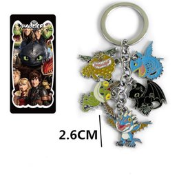Wholesale Keys Colored - Free SHIPPING 10Set How To Train Your Dragon Toothless figure doll 5 colored metal pendant keychain Key Ring