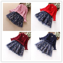 Wholesale Long Sleeved Dress Korean - Hot Style Big Girl Clothes Autumn Winter Children Clothing Korean Long Sleeved Falbala Stand-up Collar Splicing Floral Sweater Dresses 9504
