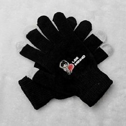 Wholesale Korean Fingerless Gloves - Wholesale- Kpop lee minho cartoon image printing black gloves korean style touch screen winter gloves for men women unisex