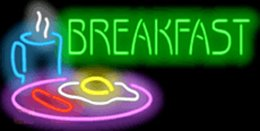 "Wholesale commercial milk - Breakfast Milk Eggs Fritters Bread Neon Sign Custom Real Neon Restaurant Fast Food Store Eating Display Advertising Handcrafted Sign 32""X16"""