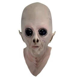 Wholesale Silicone Alien Mask - Scary Silicone Face Mask Realistic Alien Ufo Extra Terrestrial Party Et Horror Rubber Latex Full Masks For Costume Party Cosplay