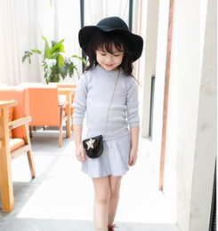 Wholesale Grey Knit Sweater - Boutique Children Clothing Autumn Winter Girl Sets Sweater + Skirt Crochet Knitted Warm 2PCS Outfits Children Cloth Black Grey K8004