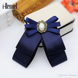 Wholesale Ribbon Bowknot Wedding - Broche Korean Version Of The Bowknot Brooch Flowers And Shirt Bow Tie College Wind Collar Needle Retro Ribbon Fabric Corsage