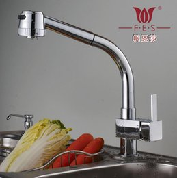 Wholesale Rotary Valves - The Ensha pull kitchen faucet hot copper single double control rotary sink faucet ceramic valve 160313#