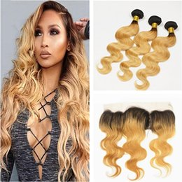 Wholesale 27 Inch Weave - 8A Ombre Hair Extensions #1b 27 Honey Blonde Ombre Human Hair 3Pcs With Lace Frontal Closure 13x4'' Two Tone Body Wave Hair Weave