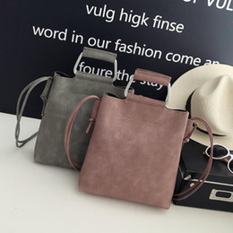 Wholesale Leather Bag Handles Wholesale - Wholesale- Fall Fashion New Handbags High quality PU leather Retro Iron Handle Simple wild large capacity Buckets Shoulder Messenger bag