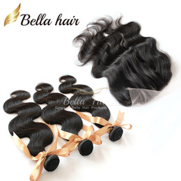 Wholesale Malaysian Hair Dhl - Malaysian Hair 4pcs lot (4x4) 3 Part Lace Closure with Bundle Hair 3pcs Unprocessed Human Hair Extensions Body wave DHL 7A
