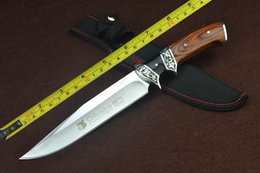 """Wholesale Knife Hunting Survival Bowie - FREE SHIPPING New 12 """"Wood handle 440C Blade Fixed Blade Survival Bowie Hunting Knife SA59"""