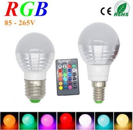 Wholesale E27 Globe Dimmable - AC85V-265V E27 E14 16 Colorful Changeable LED RGB Magic Light Dimmable Lampada Bulb Spot lamp lighting+24 key IR Remote Controller B22 GU10