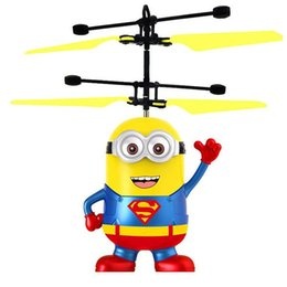 Wholesale Flying Rc Toys - Hot Sell Minions Helicopter RC Flying Toys Drone Indication Helicopter Built In Cartoon Minions Helicopter For Kids Adults